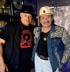 Narada Michael Walden and Carlos Santana in the studio collaborating on Jennifer Saran's new single Wake Up