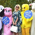 Pamela Anderson Joins Giant Animal Mascots To Promote Vegan Diet