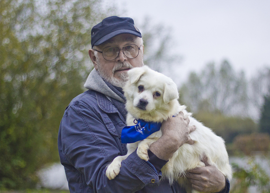Peter Egan with rescued dog Hope, who Humane Society International saved from China's Yulin dog meat festival in June 2016; now at All Dogs Matter awaiting adoption in the UK