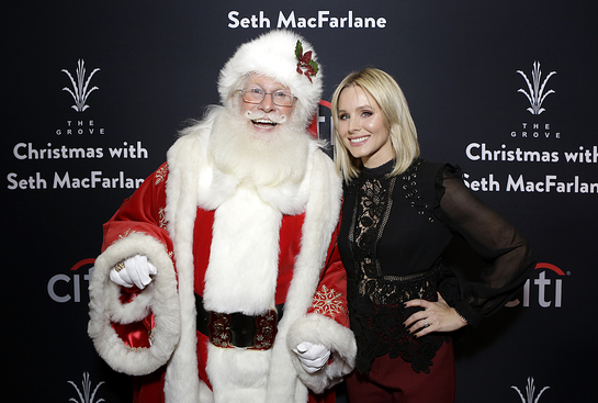 Kristen Bell and Santa Claus attend The Grove Christmas with Seth MacFarlane, presented by Citi