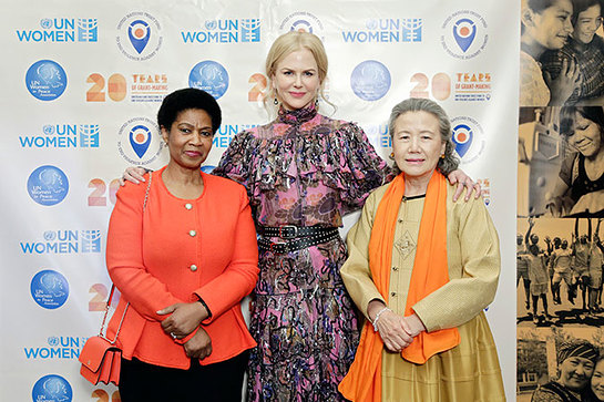 Phumzile Mlambo-Ngcuka, UN Women Executive Director, Nicole Kidman, UN Women Goodwill Ambassador and Mrs. Ban Soon-taek at UN Trust Fund gala