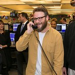 Photo:  Seth Rogen answers the phones on the trading floor at ICAP's North American headquarters in Jersey City, NJ