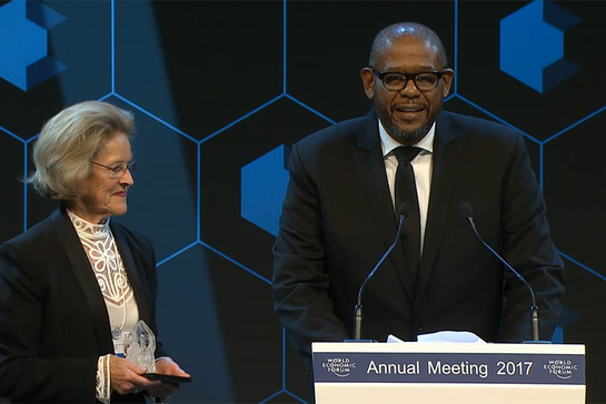 UN agency envoy Forest Whitaker honoured at the 47th World Economic Forum Annual Meeting in Davos, Switzerland