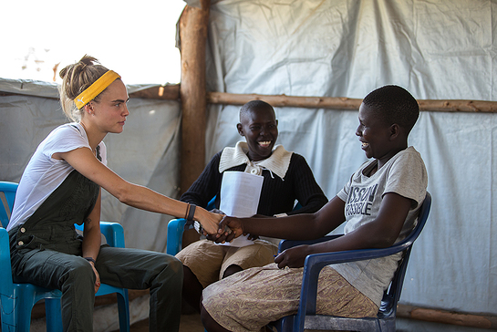 Cara Delevingne joined the United Nations Foundation's Girl Up campaign in Uganda