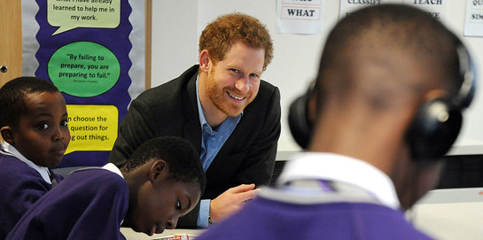 Prince Harry visits Nottingham on to see the work of Full Effect and Coach Core