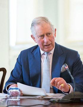 Prince of Wales at a meeting on the role of design and innovation in the plastic recycling industry