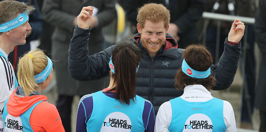 Prince Harry meets runners and Heads Together supporters