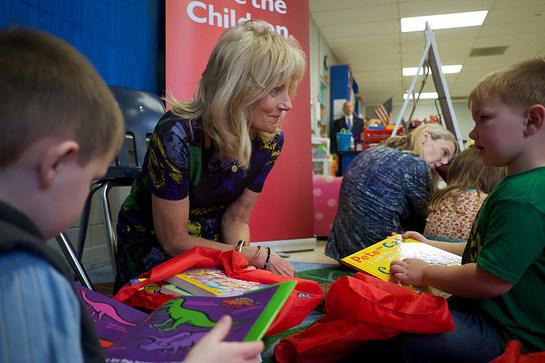 Save the Children Board Chair Dr. Jill Biden reads to preschool students