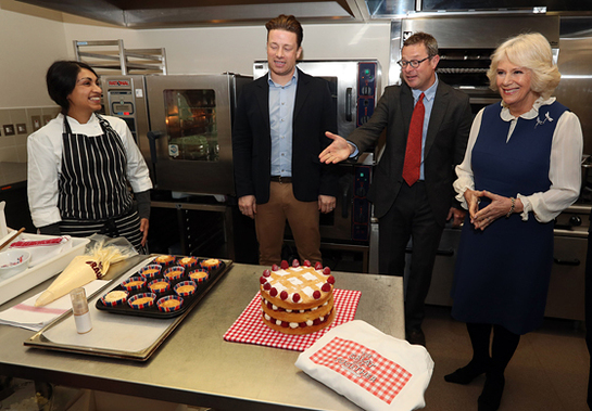 The Duchess of Cornwall with chef Meera, Jamie Oliver and Hugh Fearnley-Whittingstall