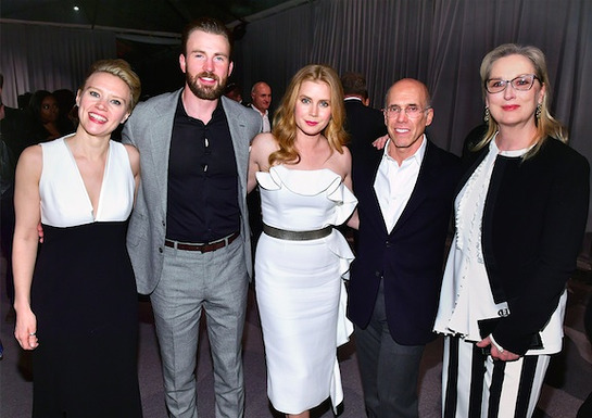 Kate McKinnon, Chris Evans and Amy Adams, Jeffrey Katzenberg and Meryl Streep attend MPTF's The Night Before