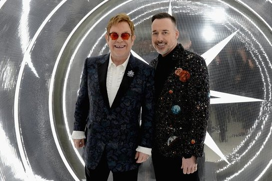 Elton John and David Furnish attend the 25th Annual Elton John AIDS Foundation's Oscar Viewing Party