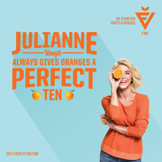 Julianne Hough gives oranges a perfect 10 in the celebrity packed FNV campaign