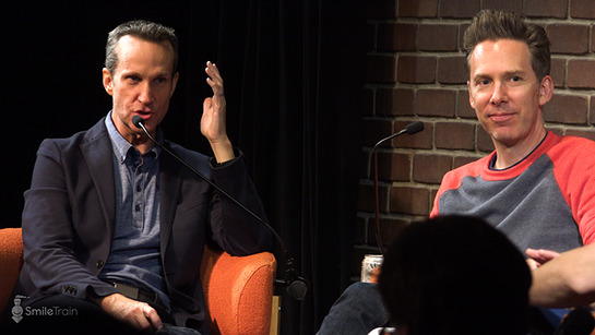 Never Not Funny cast members, Jimmy Pardo, and Matt Belknap onstage at Pardcast-a-Thon 2017