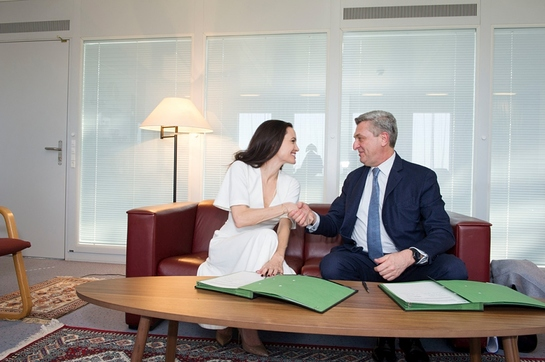 UN High Commissioner for Refugees Filippo Grandi meets with UNHCR Special Envoy Angelina Jolie