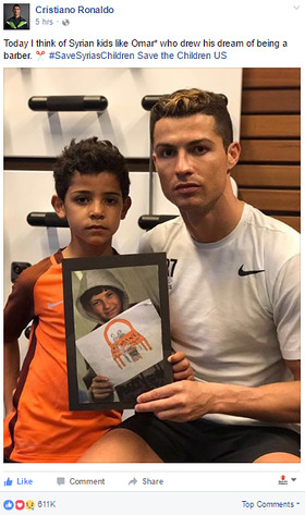 Cristiano Ronaldo Posts Drawing by Syrian Refugee Teen