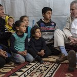 Martin Bell Visits Refugee Children In Lebanon
