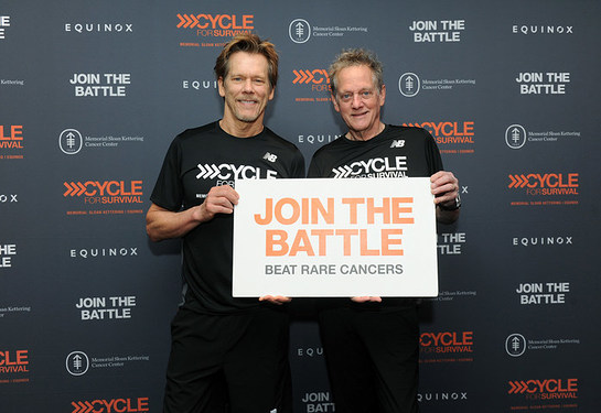 Michael Bacon and Kevin Bacon show their support at a Cycle for Survival event in New York on March 12