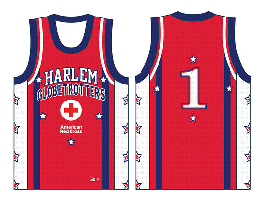 The Globetrotters will sport custom-designed, one-time-only red jerseys in the motif of the American Red Cross