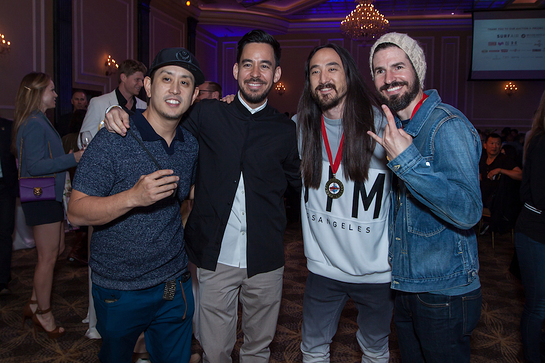 (L to R): Joe Hahn, Linkin Park; Mike Shinoda, Linkin Park; Steve Aoki; and Brad Delson, Linkin Park
