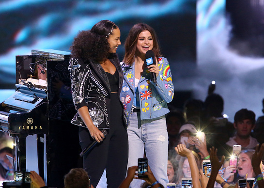 Alicia Keys and host of WE Day California, actress/singer and UNICEF Goodwill Ambassador Selena Gomez