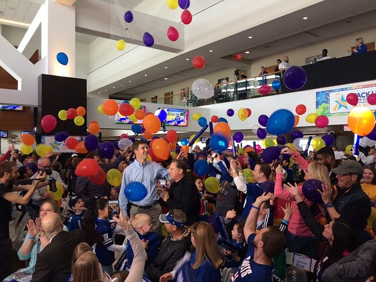 NBC4 New York Sports Anchor Bruce Beck talks with Eli Manning about the importance of the Tackle Kids Cancer Program
