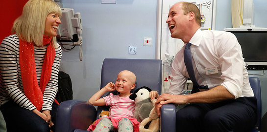 Prince William, President of the Royal Marsden NHS Foundation Trust, visits the hospital's facilities in Sutton