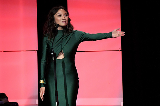 Host Jeannie Mai speaks onstage during the 42nd Annual Gracie Awards