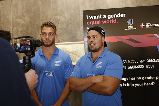 New Zealand's rugby players talking about gender equality and empowering of girls through sports