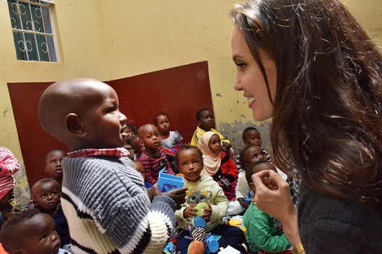 UNHCR Special Envoy Angelina Jolie meets children and siblings of vulnerable female refugees in Nairobi