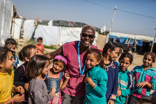 Angelique Kidjo engages with children in the Housh el Refka informal settlement, Bekaa Valley