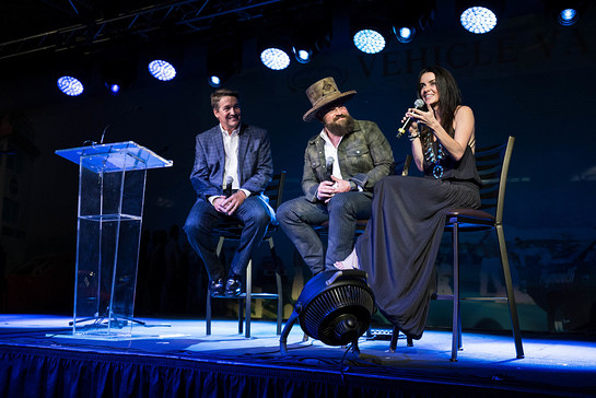 Mike Dobbs, along with Zac and Shelly Brown, discuss Camp Southern Ground to 300 event guests.