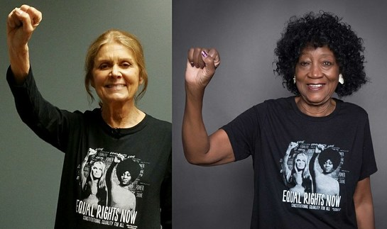 Gloria Steinem and Dorothy Pitman Hughes wear #EqualRightsNow t-shirts