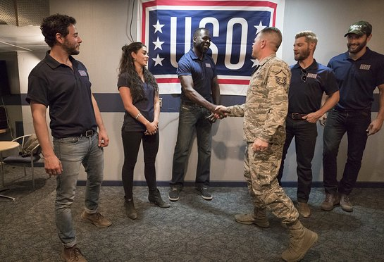 Cast of NBC's The Brave visit with service members and their families during USO tour to Kirtland Air Force Base