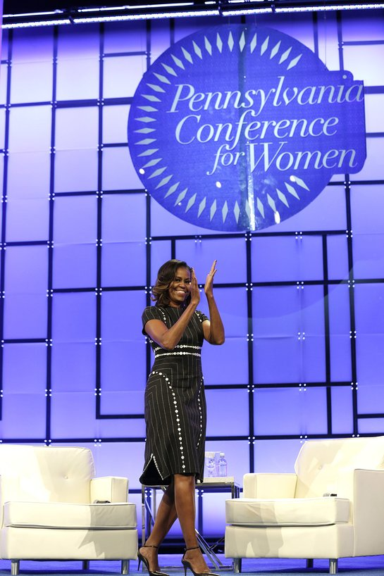 Michelle Obama enters the stage during Pennsylvania Conference For Women 2017