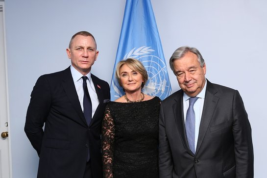 Daniel Craig with Agnes Marcaillou and Antonio Guterres