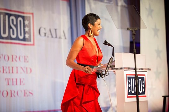 Master of Ceremonies Tamron Hall makes remarks during the 2017 USO Gala on October 19 in Washington, D.C.