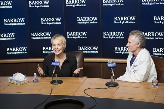 Sharon Stone visited Barrow Neurological Institute in Phoenix, Arizona to welcome the Institute's new leader, Dr. Michael Lawton