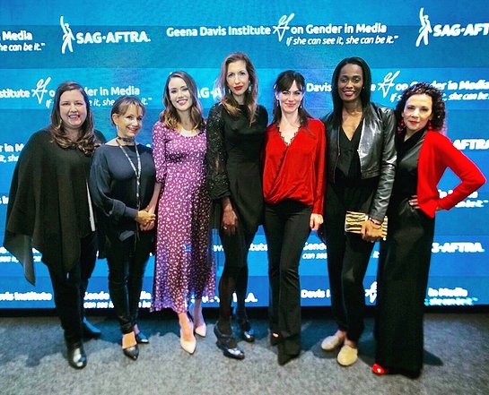 SAG-AFTRA Executive Vice President and New York President Rebecca Damon, SAG-AFTRA President Gabrielle Carteris, Megan Boone, Alysia Reiner, Maggie Siff, Swin Cash and Geena Davis Institute CEO Madeline Di Nonno