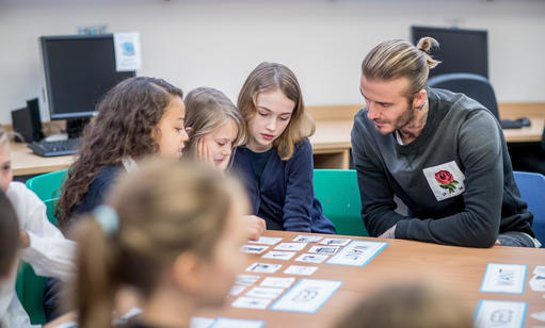 UNICEF Goodwill Ambassador David Beckham visits Kentish Town C of E Primary School, London