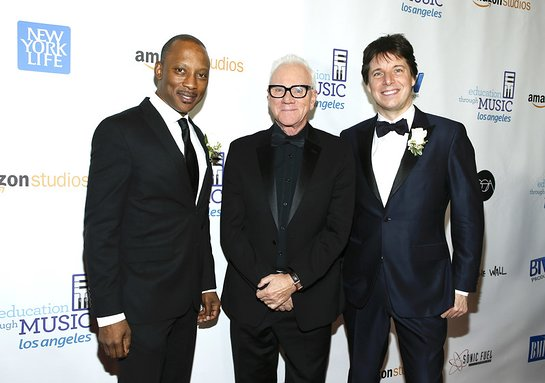 Vincent Womack and Joshua Bell with Host Malcolm McDowell
