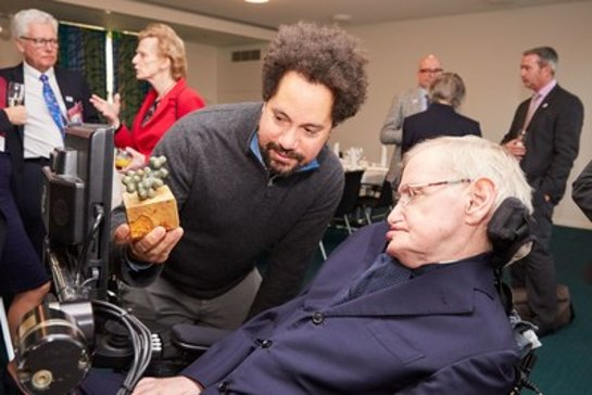 Professor Hawking was presented with a sculpture of the genetic structure of Diethylcarbamazine