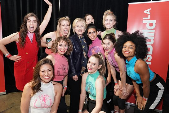 Hillary Clinton poses with the LA City Municipal Dance Squad