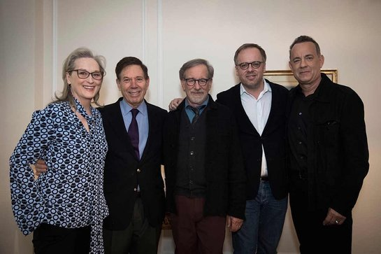 Meryl Streep, Peter Price, Stephen Spielberg, Christophe Deloire and Tom Hanks attend the Reporters Without Borders (RSF) premiere of The Post in Paris