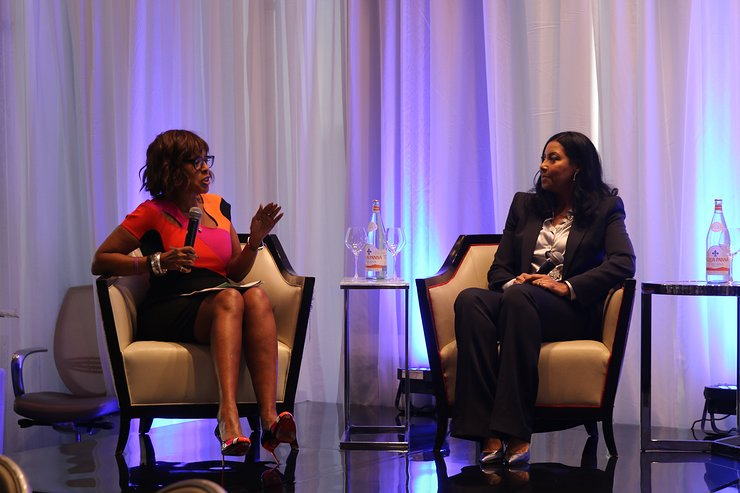 Gayle King and Cookie Johnson start off the panel discussion at the NBWA Women's Empowerment Summit Luncheon on Saturday, February 17, 2018