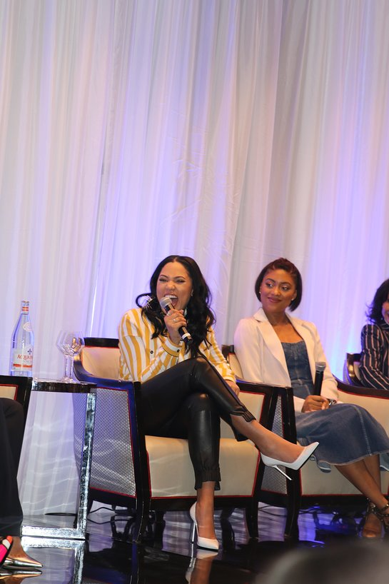Ayesha Curry cracks a laugh during the panel at the NBWA Women's Empowerment Summit Luncheon on Saturday, February 17, 2018
