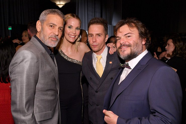 George Clooney, Leslie Bibb, Sam Rockwell, and Jack Black