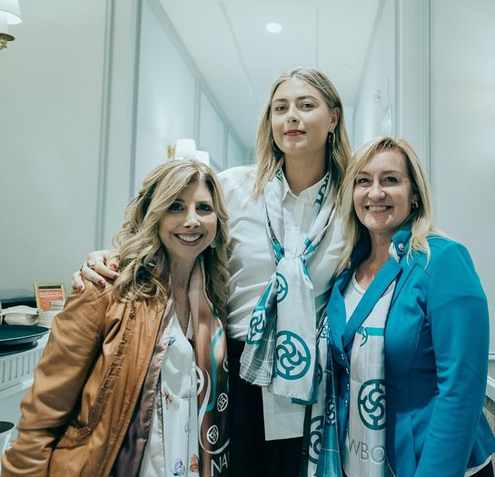 Maria Sharapova with Loreen Gilbert, Chair Elect, NAWBO Institute and Lynda Bishop, National Program Director, NAWBO Institute