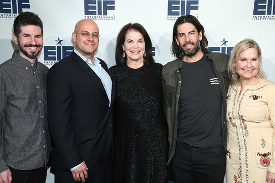 Brad Delson of Linkin Park, EIF Board Chair Chris Silbermann, EIF Board Member Sherry Lansing, Rob Bourdon of Linkin Park, and EIF CEO Nicole Sexton