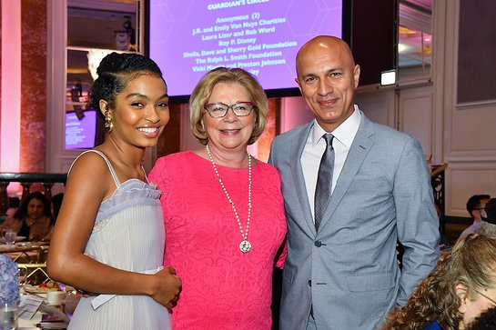 Grown-ish and Black-ish actress Yara Shahidi with BBBSLA President & CEO Olivia Diaz-Lapham and her father Afshin Shahidi