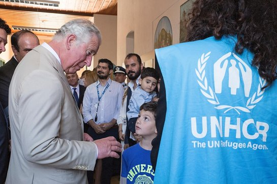 Prince of Wales meets refugees staying in UNHCR rented apartments on the Greek island of Crete